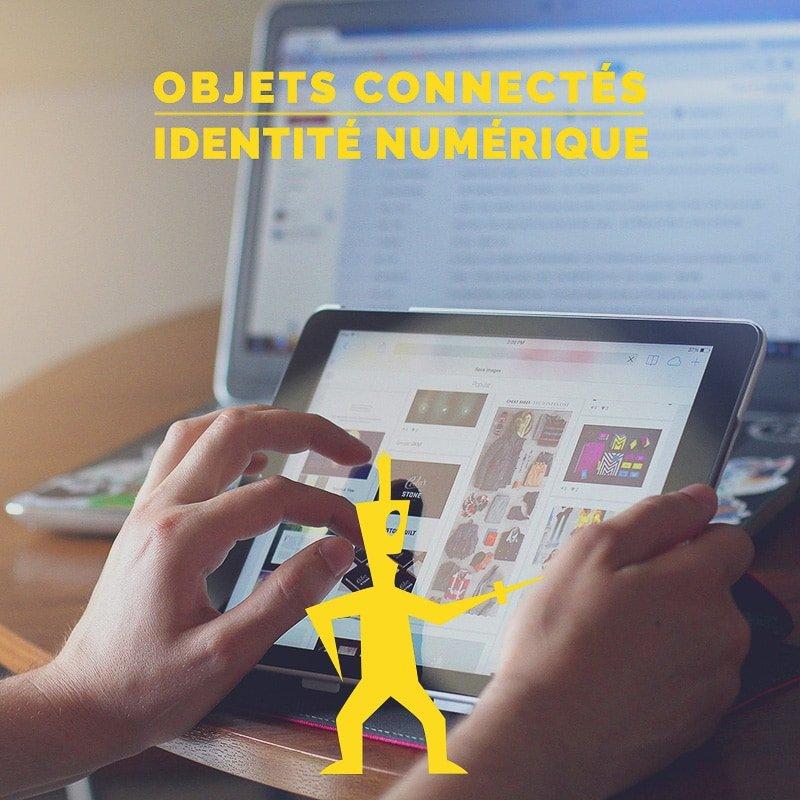 L'identité numérique est l'ensemble des traces que nous laissons en ligne (contenus sur les réseaux sociaux, partages, commentaires, photos, activités, achats,…) mais aussi via les objets connectés qui s'invitent de plus en plus dans nos foyers (caméras, montres, systèmes d'éclairage, …).